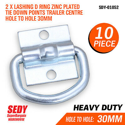 10x Lashing D Ring Zinc Plated Tie Down Points Trailer Centre Hole Anchor 01052
