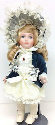 """Vintage Victorian Porcelain Doll 12"""" Kingstate With Stand"""
