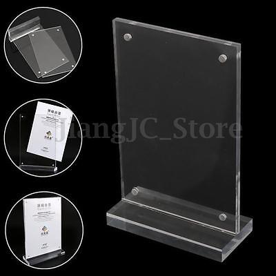 Acrylic Clear Double Sided Display Stand Menu Poster Price Tag Sign Holder Panel
