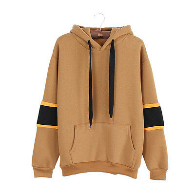 Female Long Sleeve Hooded Fleece Letter Print Patchwork Tracksuit Loose Tops
