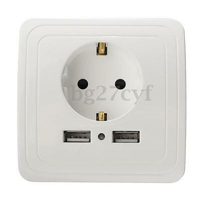 2A 2Ports USB Wall Charger Adapter EU Plug Wall Socket LED Power Outlet Panel