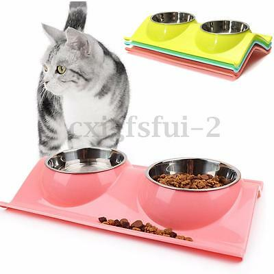 Double Food &Water Pet Non-Toxic Feeding Bowl Dog/Puppy/Cat/Kitten Non Slip Dish