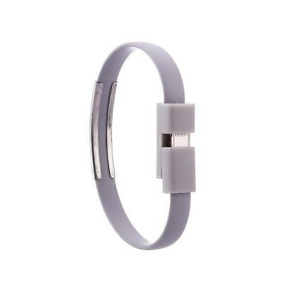 iProtect Lightning USB Silikon Armband Ladekabel für Apple Grau