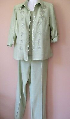 Dress Company by Stitches Ladies 3 Pce mint green  Pant Suit Size P 12 FREEPOST