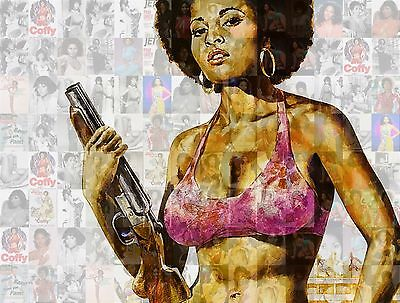 PAM GRIER - COFFY new 2015 photo mosaic cm. 31x42 poster with a lot of pics b