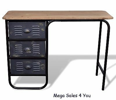 Industrial Wood & Iron Desk 3 Drawers Storage Antique Workstation Office Table