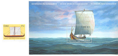 The Vikings Ships Min sheet and single stamp- Ireland
