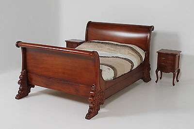 Solid Mahogany Baroque Ornate Pawed Sleigh Rococo French Period Double Size Bed