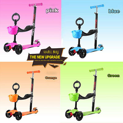 *new Design* 4 In 1 Scooter Kid Push Kick Car 3 Wheel Ride On Toy Early Learner