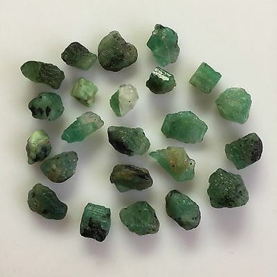 128 Ct 23 Pc Natural Emerald Green Zambian Rough Gemstones Loose Mineral Lot Raw