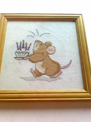 Hand Made Framed Cross Stitch/tapestry Needlework Birthday Mouse New