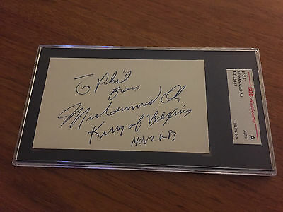Muhammad Ali Autographed Cut Index Card King Of Boxing Added Sgc Authentic