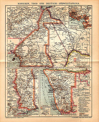 1902 AFRICA TOGO CAMEROON NAMIBIA Antique Map Dated