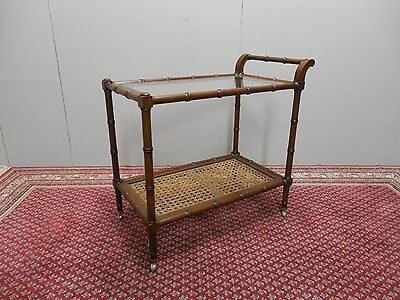 HICKORY CHAIR CO. Walnut Hollywood Regency Faux Bamboo with Caning Serving Cart