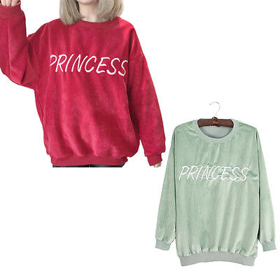Winter PRINCESS Letter Embroidery Velours Sweatshirt Tops Pullovers Shirt Female
