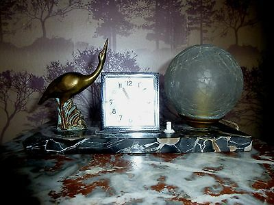 French Art Deco Wading Bird Mood Lamp With Clock