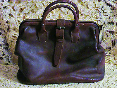 TRUE Antique Early 1800's  GENUINE Leather Doctor Satchel Bag ATTIC FIND