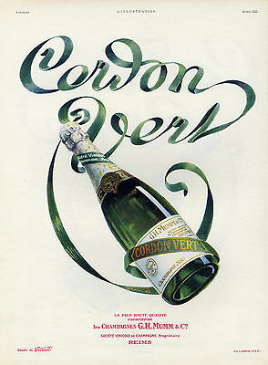 """CORDON VERT"" Annonce originale entoilée L'ILLUSTRATION Avril1925 (E. VIRTEL)"