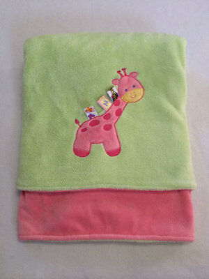 "Taggies Pink Green Giraffe Large Soft Baby Blanket 30"" x 40"" Girl Security Lovey"