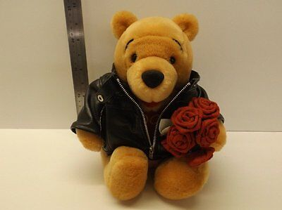 Winnie the Pooh Bear with Roses in Biker jacket