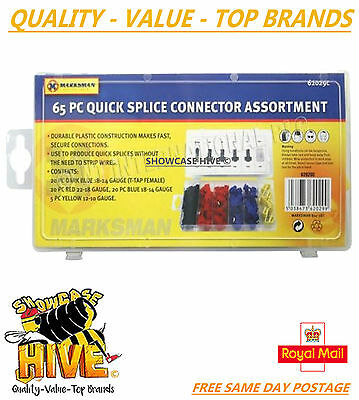 65Pc Quick Splice Connector Assortment Scotch Lock Electrical Wire Joiner Box