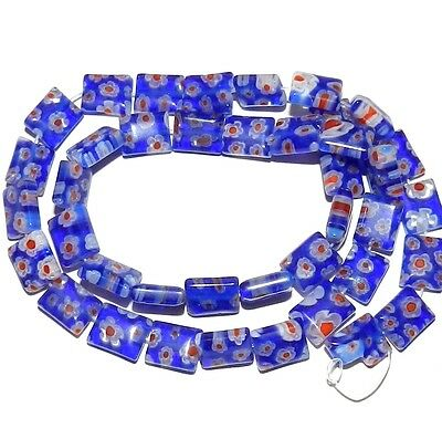 G3075f Blue w Red & White Flowers 10x8mm Rectangle Millefiori Glass Beads 15""