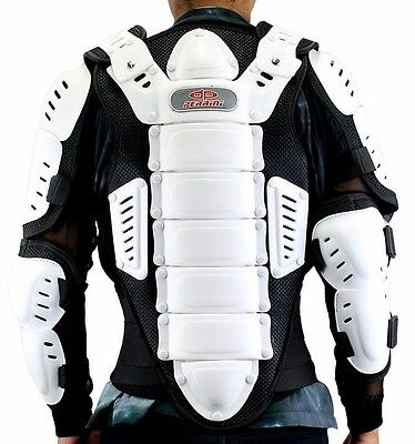 NEW Perrini White/Black CE Approved Full Body Armor Motorcycle Jacket