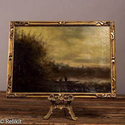 Original Antique Painting, Oil on Canvas European Realism Landscape Signed Corot