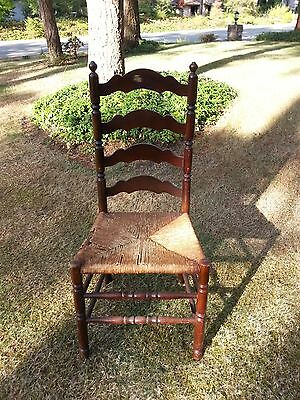 Antique Ladder Back Chair With Original Finish & Rush Seat