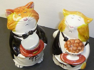 MEOW CHOW SALT & PEPPER SHAKERS, Gorgeous Chef Cats, Tracy Flickinger,