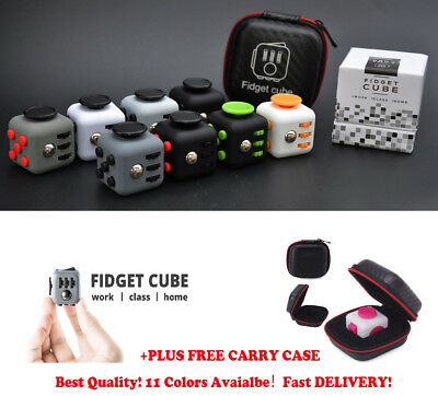 Fidget Cube Toy Stress Anxiety Relief Toy Focus Adults Kid ADHD With Carry Case