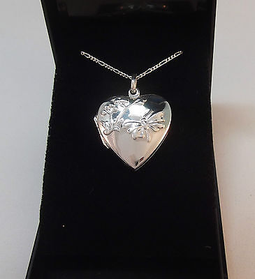 """Solid Silver 'heart Shaped Locket With Butterfly' Pendant On 24"""" Chain - Bnib"""