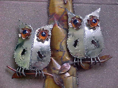 """Adorable Vtg '70s Burnt Metal OWL Wall SCULPTURE Welcome to Our Home Enesco 24"""""""