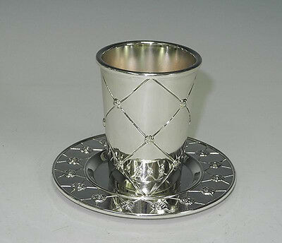 Kiddush Cup with Coaster. Silver Plated. Roses Design. Clearance Sale. Gift