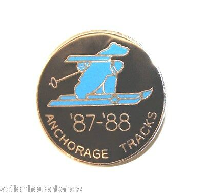 ANCHORAGE TRACKS 87-88 - Ski Lapel Pin Badge - Alaska Skiing Resort