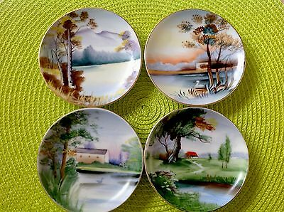 Ucagco Ceramics Handpainted Decorative Set of 4 Vintage 4 Inch Plates Kitchen