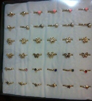 Bulk Box. 36 Little Girls Rings. Gold Tone. Adjustable.