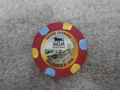 New MGM National Harbor Grand Opening $5 Casino Collectors Chip Washington DC PG