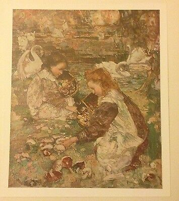 Original 1903 'the Studio' Oil Painting ' The Mushroom Gathererers ' By Hornel