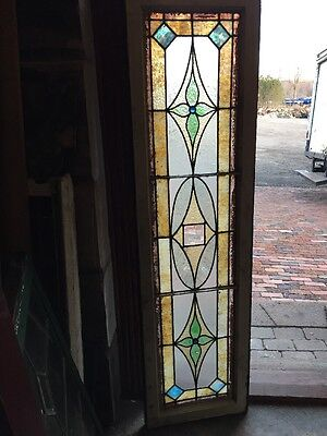 Sg 1065 Antique Stainglass Transom Window To Blue Faceted Jewels 16.5 X 60""