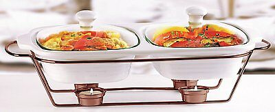 Circleware Ceramic Chafer Double Buffet Server Warmer Baker 2qt 16 x 9.75 x5