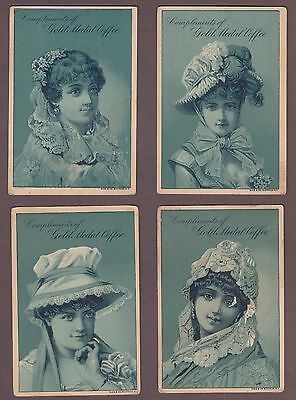 Gold Medal Coffee 1880s Victorian Trade Card Lot Of Four Pretty Ladies