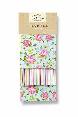 Cooksmart Tea Towels, Pack of 3, Vintage Floral