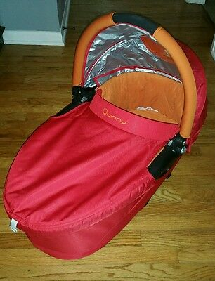 Quinny Dreami Bassinet Pram Carry Cot with stroller adapters orange red