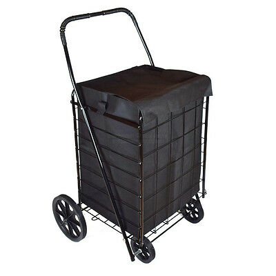 DLUX Extra Large Folding Shopping Cart with Matching Liner D801SL, Black