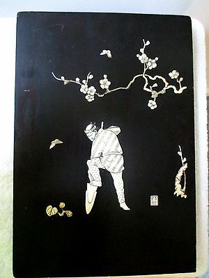 Antique Japanese Carved Shibayama Panel Plaque Ox Signed Raised Relief Gardener