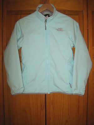 The North Face fleece lined jacket girls M 10/12 blue camping hiking outdoors