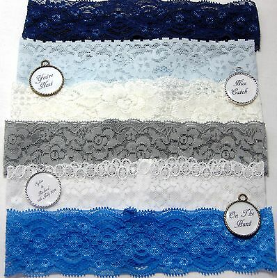 Stretch lace personalized wedding garter (various colours/quotes). toss