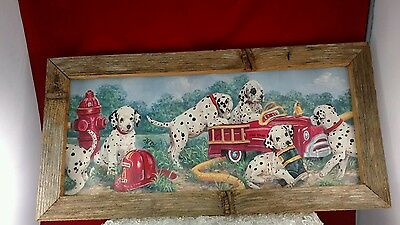 Rustic wood frame Dalmatians on firetruck picture on tin