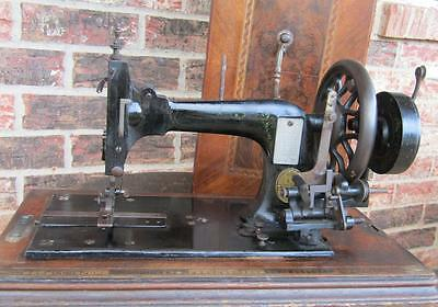 Vintage Antique Hand Crank Frister & Rossman Sewing Machine w/inlaid Wood Case